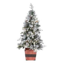Holiday Living 4-ft Pine Pre-Lit Traditional Slim Flocked Artificial Christmas Tree with 100 Cons...   Lowe's