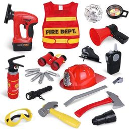 23 Pieces Fireman Toys for Kids, Fire Fighter Costume Pretend Play Dress-up Toy Set F-389 | Walmart (US)
