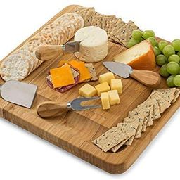 Bamboo Cheese Board Set With Cutlery In Slide-Out Drawer Including 4 Stainless Steel Serving Uten... | Amazon (US)