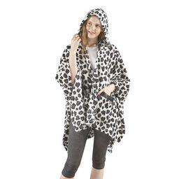 "Plush Hooded Angel Wrap with Pockets, Snow Leopard, 50"" x 60"" | Walmart (US)"