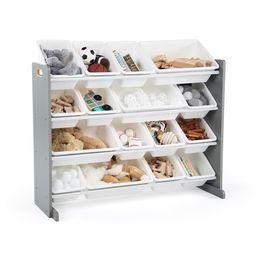 Humble Crew Grey/White Kids Toy Storage Organizer w/ 16 Plastic Bins   Walmart (US)