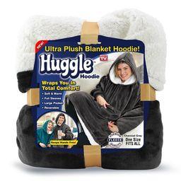 Huggle Hoodie, Ultra Plush Hooded Blanket Robe, Premium Fleece, Gray, As Seen on TV   Walmart (US)