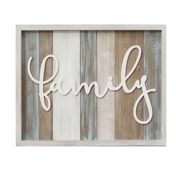 """Stratton Home Decor Rustic """"family"""" Wood Wall Sign Décor 