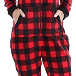 Sleepyheads Family Matching Fleece Buffalo Plaid and Solid Red Onesie Pajamas | Amazon (US)