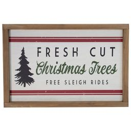 """Northlight 18"""" White and Red Rectangular """"Fresh Cut Christmas Trees"""" Wooden Christmas Wall Decor 