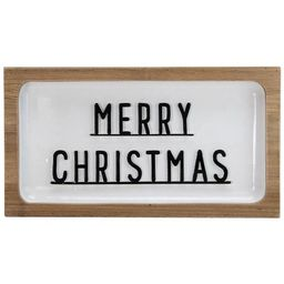 """Northlight 13"""" White and Brown """"Merry Christmas"""" 3D Wooden Wall Christmas Decor 