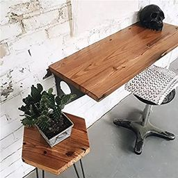 """Industrial Rustic Wall-Mounted Table, Dining Table Desk, Pine Wood Wall-Mounted Bar Tables (40""""X1...   Amazon (US)"""