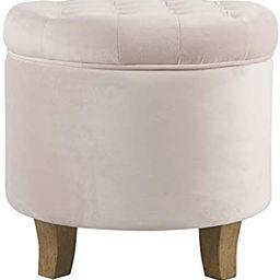 HomePop Velvet Tufted Round Storage Ottoman - Pink Blush (K6171-B258)   Amazon (US)