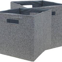 "Better Homes & Gardens Fabric Cube Storage Bins (12.75"" x 12.75""), Set of 2, Gray   Walmart (US)"