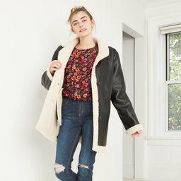 Women's Faux Fur Leather Pea Coat - Wild Fable Black XL   Target