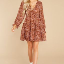 Simple Pleasures Brick Floral Print Dress | Red Dress