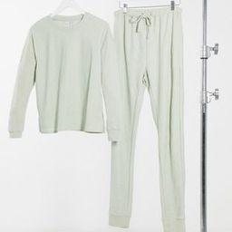 ASOS DESIGN Tall exclusive light weight sweatshirt & sweatpants set in sage   ASOS (Global)