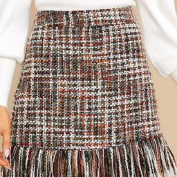 As Predicted Rust Multi Tweed Skirt | Red Dress