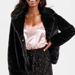 Jenette Faux Fur Coat   Francesca's Collections