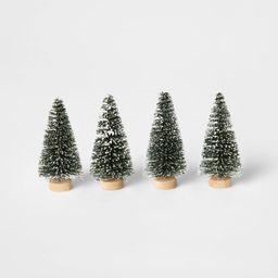 4pk Flocked Bottle Brush Christmas Tree Set Decorative Figurine Green - Wondershop™ | Target