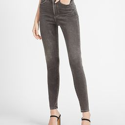 High Waisted Luxe Comfort Knit Black Skinny Jeans | Express