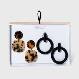 SUGARFIX by BaubleBar Tortoise Shell and Beaded Earring Set 2pc - Black/Tortoise | Target