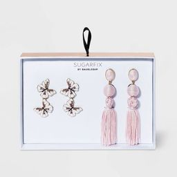 SUGARFIX by BaubleBar Butterfly And Tassel Earring Set 2pc - Blush | Target