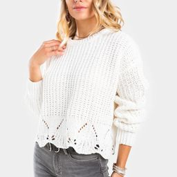 Lennon Eyelet Sweater   Francesca's Collections