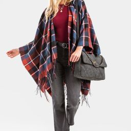 Angiie Plaid Fringe Poncho   Francesca's Collections