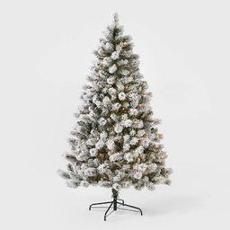 6.5ft Pre-lit Artificial Christmas Tree Flocked Douglas Fir Clear Lights - Wondershop™   Target