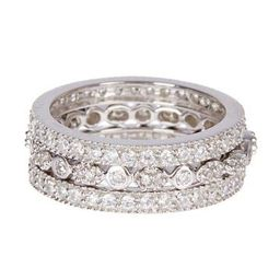 Sterling Silver Three Row CZ Band Ring - Set of 3 | Nordstrom Rack