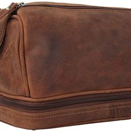 Genuine Leather Travel Toiletry Bag - Dopp Kit Organizer By Rustic Town (Brown)   Amazon (US)