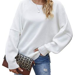 Jacansi Women's Casual Crew Neck Pullover Sweater Side Split Loose Long Sleeve Knit Sweaters Jump... | Amazon (US)
