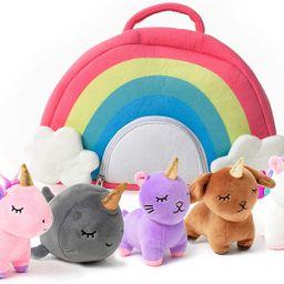 PixieCrush Unicorn Toys Stuffed Animal Gift Plush Set with Rainbow Case – 5 Piece Stuffed Anima... | Walmart (US)