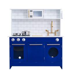 Teamson Kids Little Chef Berlin Modern Play Kitchen - White / Blue | Walmart (US)
