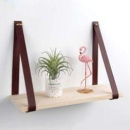 Leather Strap Wood Floating Wall Shelf - Wooden Shelves Organizer Mount | Etsy (US)