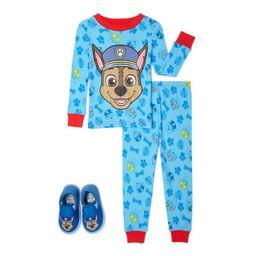 Paw Patrol Toddler Boys Long Sleeve Snug Fit Cotton Pajamas, 2-Piece Set + Slippers, 2T-5T | Walmart (US)