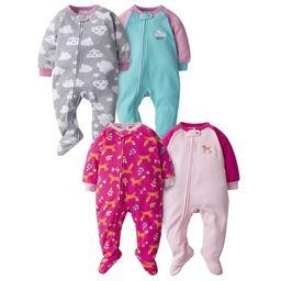 Gerber Baby Girls Microfleece Blanket Sleeper Pajamas, 4-Pack | Walmart (US)