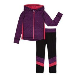 Chili Peppers Girls Space Dye Zip-Up Hoodie and Leggings, 2-Piece Active Set, Sizes 4-18 | Walmart (US)