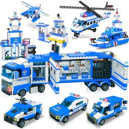 8 in 1 City Police Station & Mobile Command Center Truck Building Toy with Cop Cars, Police Helic... | Walmart (US)