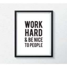 Minimalist Poster Print, Black & White Typography Work Hard & Be Nice Motivational Quote For Home, O | Etsy (US)