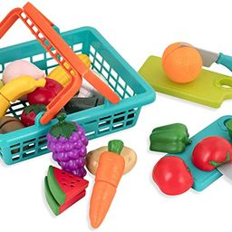 Battat – Farmers Market Basket – Toy Kitchen Accessories – Pretend Cutting Play Food Set fo... | Amazon (US)