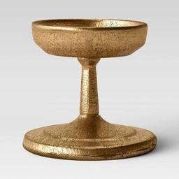 "3.5"" x 4"" Brass Pillar Candle Holder Gold - Threshold™   Target"