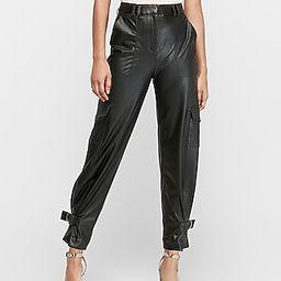 High Waisted Vegan Leather Cinched Hem Jogger Pant | Express