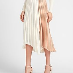 High Waisted Pleated Color Block Midi Skirt   Express