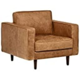 "Amazon Brand – Rivet Aiden Mid-Century Modern Tufted Leather Accent Chair, 35.4""W, Cognac | Amazon (US)"