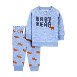 Child of Mine by Carter's Baby Boy Long Sleeve Shirt and Fleece Jogger 2pc Outfit Set   Walmart (US)
