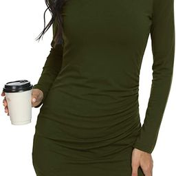 GRECERELLE Women's Sexy Fashion Long Sleeve Ruched Stretchy Dress Crew Neck Casual Bodycon T Shir...   Amazon (US)