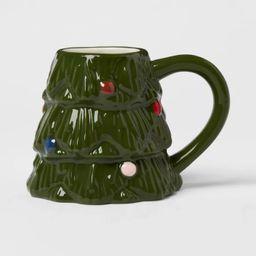 12oz Stoneware Christmas Tree Mug Green - Threshold™   Target