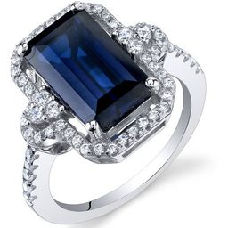 4.5 ct Cushion Cut Created Blue Sapphire Ring in Sterling Silver | Walmart (US)