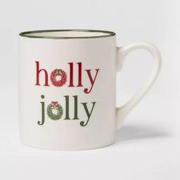 16oz Stoneware Holly Jolly Christmas Mug White - Threshold™   Target