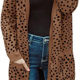 MEROKEETY Women's Open Front Knit Cardigan Winter Fall Sweater Dots Long Sleeve Pockets Coat Outw... | Amazon (US)