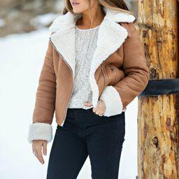 Ski Slopes Sherpa Lined Tan Jacket   Apricot Lane Boutique