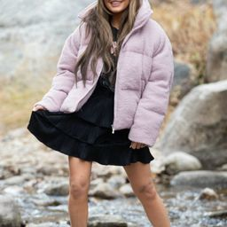 Weather Or Not Pink Sherpa Puffer | Apricot Lane Boutique