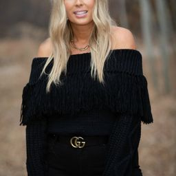 Meet And Greet Off Shoulder Fringed Knit Sweater- 3 colors | Apricot Lane Boutique
